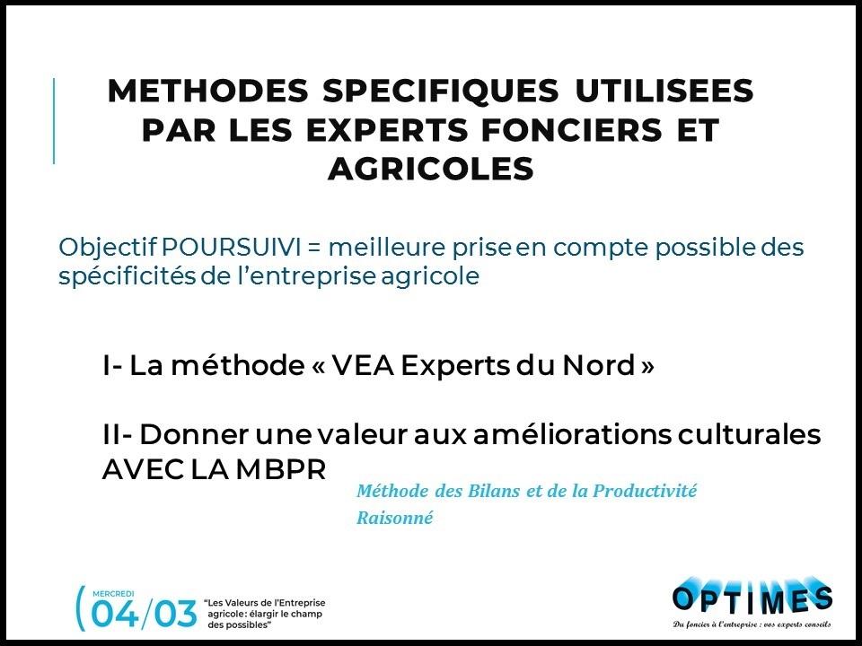 6. Valeurs de l'entreprise agricole - Méthodes spécifiques de valorisation